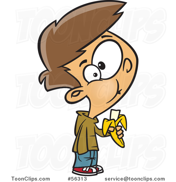 Cartoon Brunette White Boy Eating a Banana