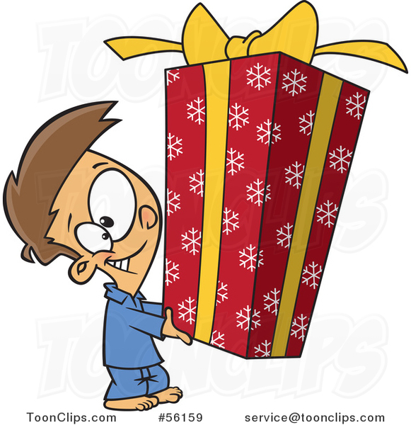 Cartoon Brunette White Boy Holding a Big Christmas Gift