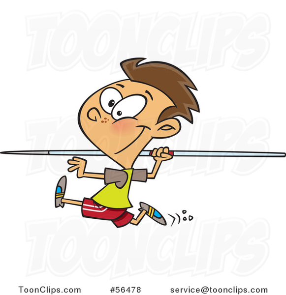 Cartoon Brunette White Boy Running and Preparing to Throw a Javelin