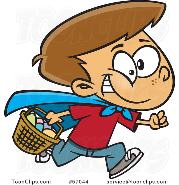 Cartoon Brunette White Boy Wearing a Cape and Running at an Easter Egg Hunt