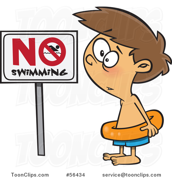 Cartoon Brunette White Boy Wearing an Inner Tube by a No Swimming Sign