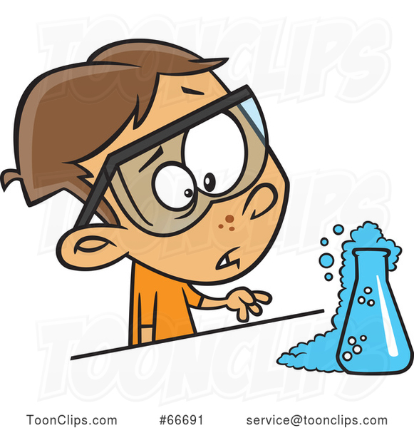 Cartoon Brunette White Boy Witnessing a Chemical Reaction in Science Class