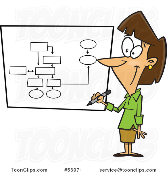 Cartoon Brunette White Businesswoman Drawing a Chart for Project Management