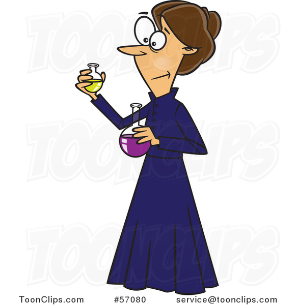 Cartoon Brunette White Female Chemist, Marie Curie, Holding Science Flasks