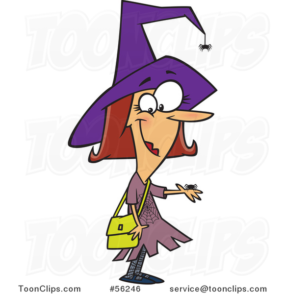 Cartoon Brunette White Female Witch with Pet Spiders