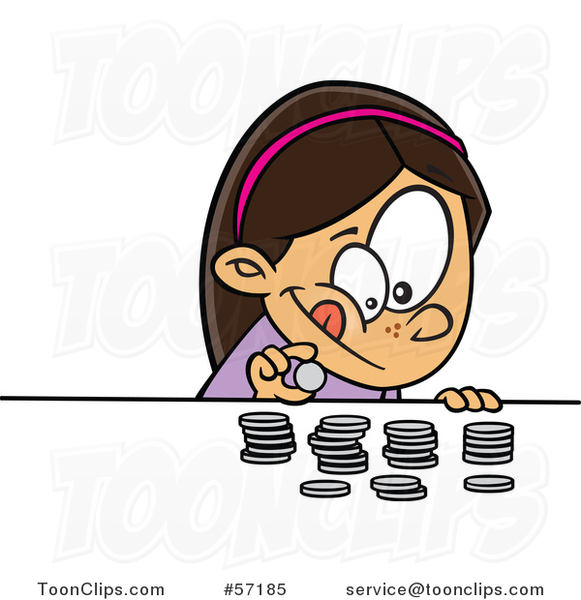 Cartoon Brunette White Girl Counting Her Money