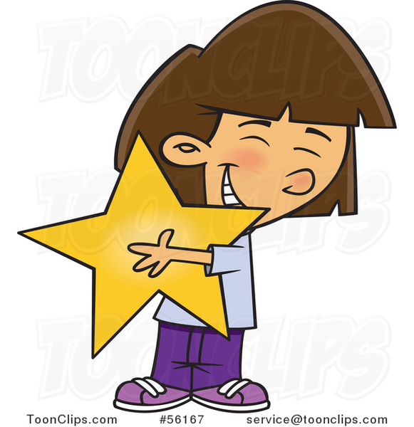 Cartoon Brunette White Girl Hugging a Star