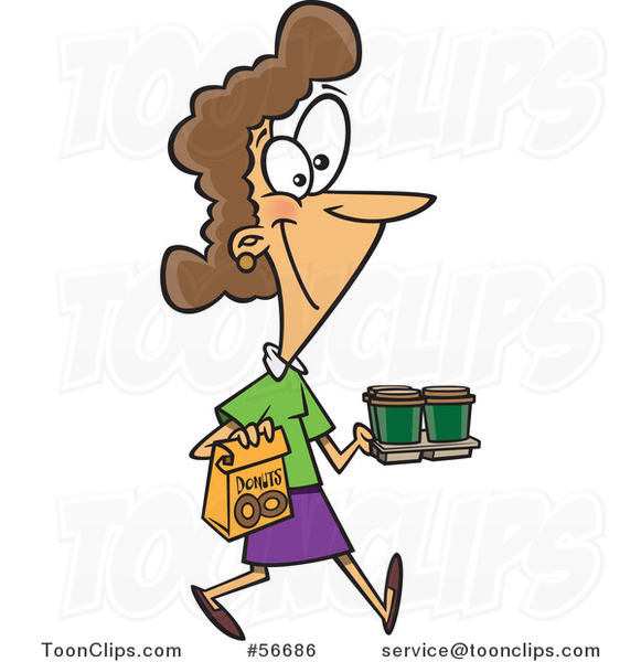 Cartoon Brunette White Lady Carrying Coffee and Donuts