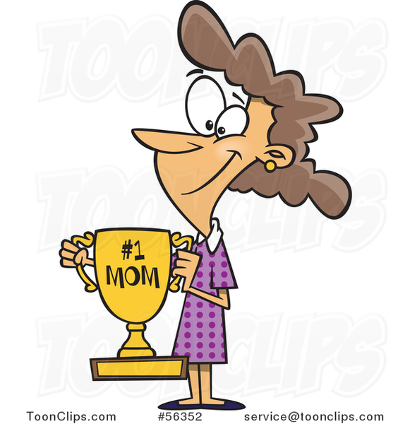 Cartoon Brunette White Mom Holding a Trophy