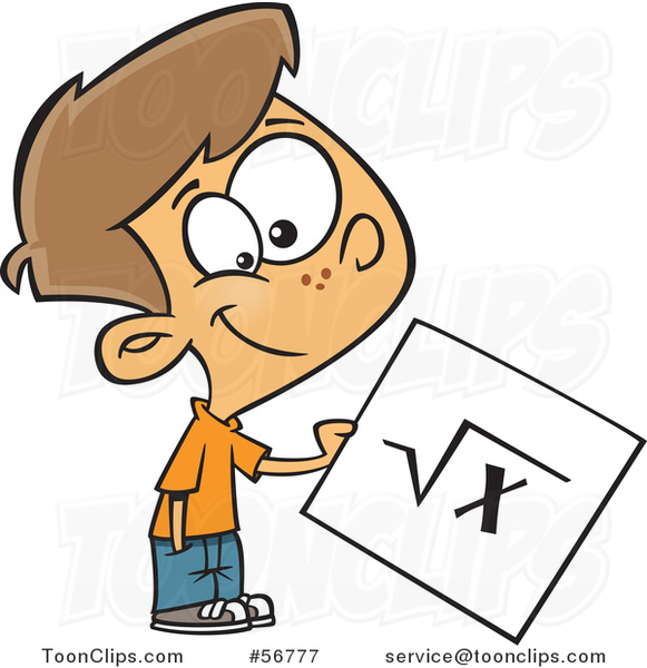 Cartoon Brunette White School Boy Holding a Square Root Page