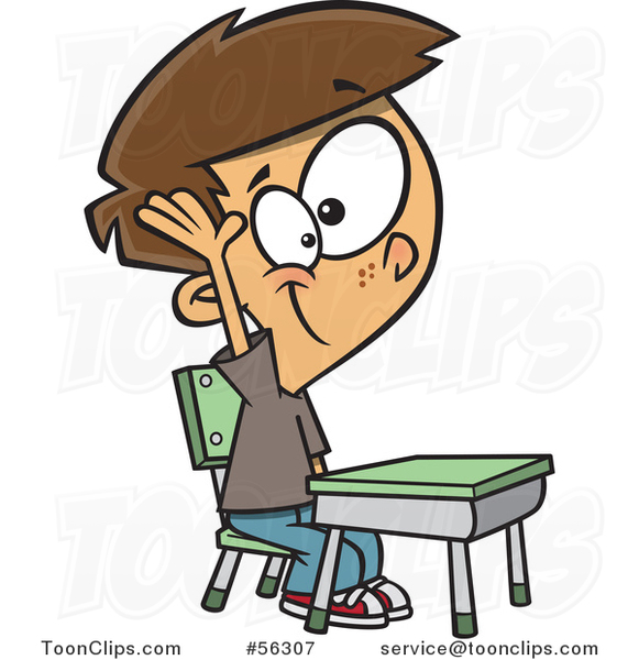 Cartoon Brunette White School Boy Raising His Hand at a Desk