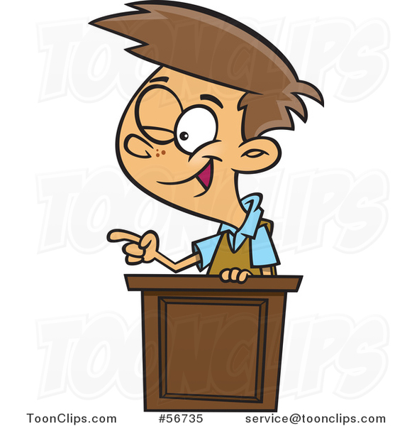 Cartoon Brunette White School Boy Winking and Giving a Lecture at a Podium