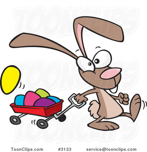 Cartoon Bunny Pulling a Wagon of Easter Eggs