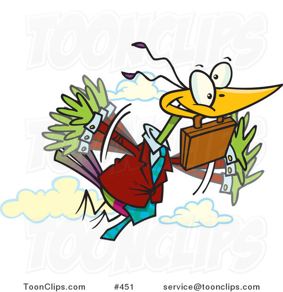 Cartoon Business Bird Flying with a Briefcase