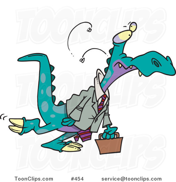 Cartoon Business Dinosaur Carrying a Briefcase