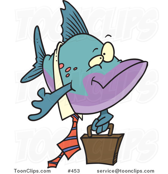 Cartoon Business Fish Carrying a Briefcase