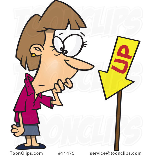 Cartoon Business Lady Looking at an up Sign Pointing Downwards