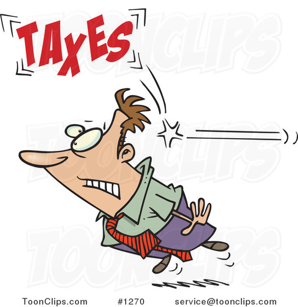 Cartoon Business Man Being Hit from Behind with Taxes
