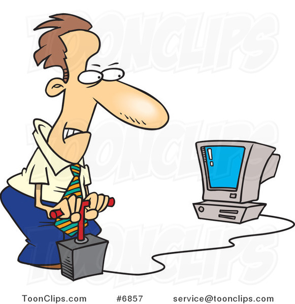 Cartoon Business Man Blowing up His Computer with Dynamite