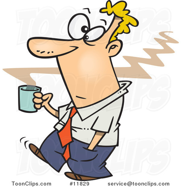 Cartoon Business Man Carrying Hot Coffee