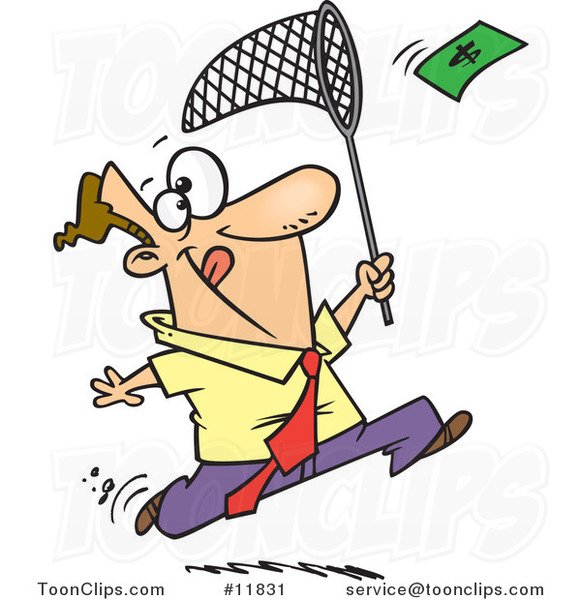 Cartoon Business Man Chasing Money with a Net
