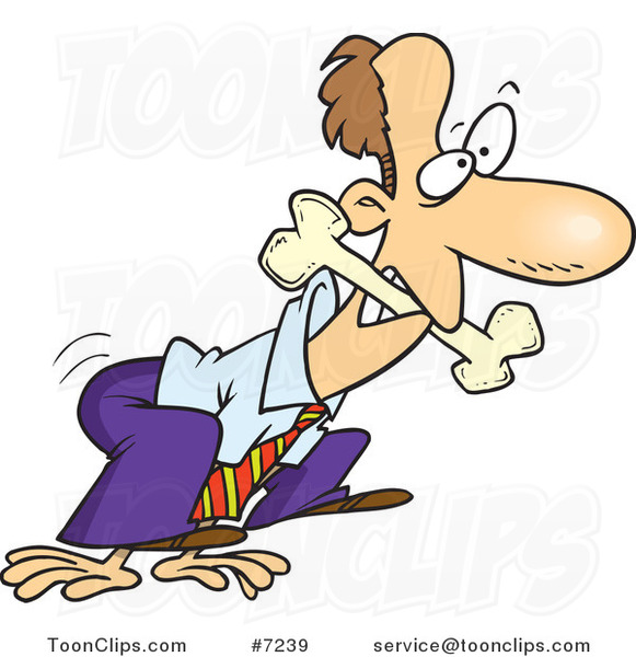 Cartoon Business Man Fetching A Bone 7239 By Ron Leishman