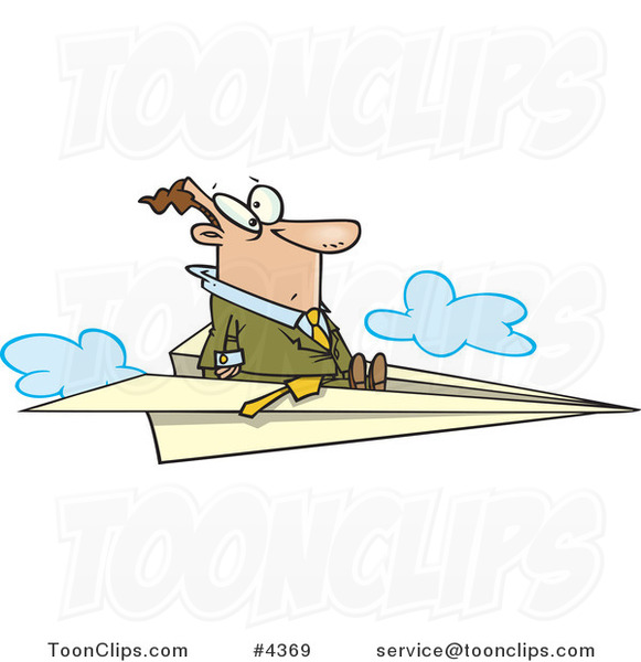Cartoon Business Man Flying on a Paper Airplane