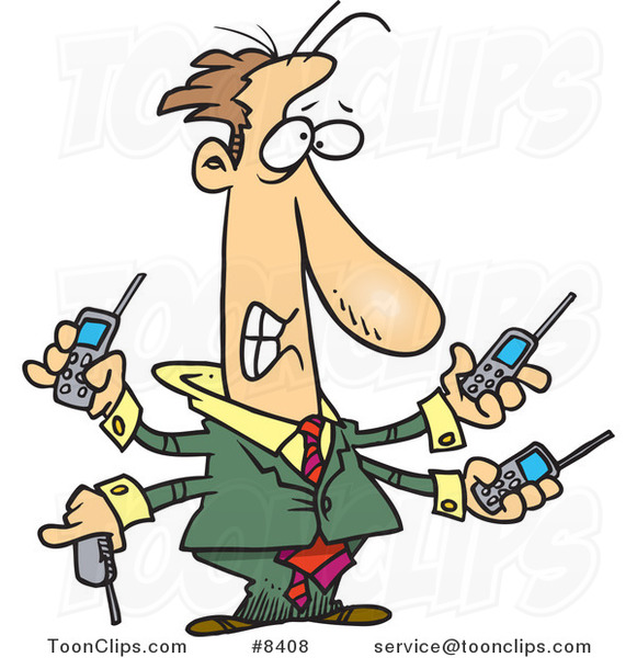 Cartoon Business Man Handling Multiple Cell Phones