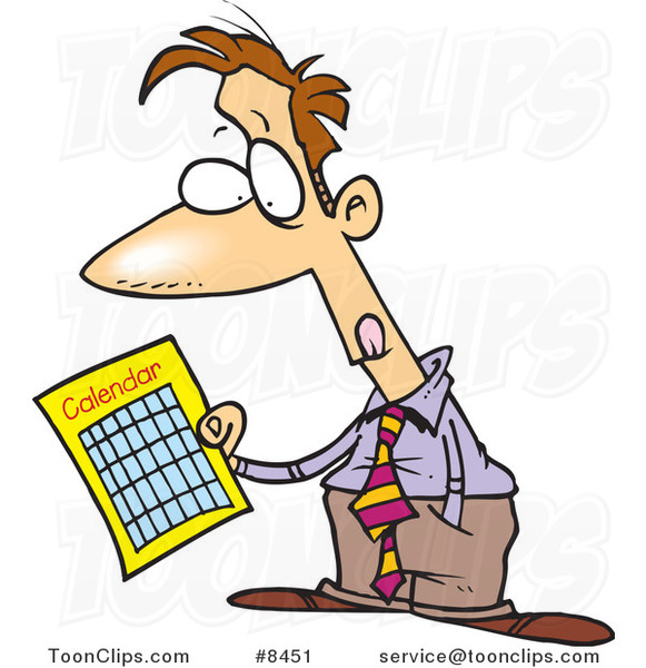 Cartoon Business Man Holding a Calendar