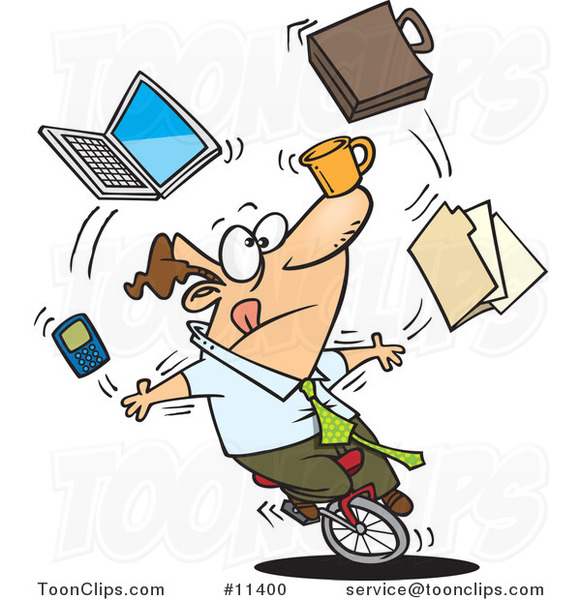 cartoon business man juggling tasks on a unicycle 11400 christmas music clipart border christian music clipart images