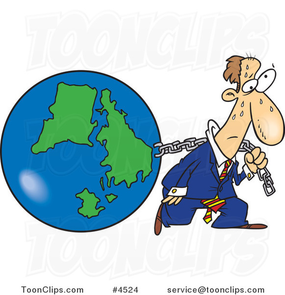 Cartoon Business Man Pulling Earth