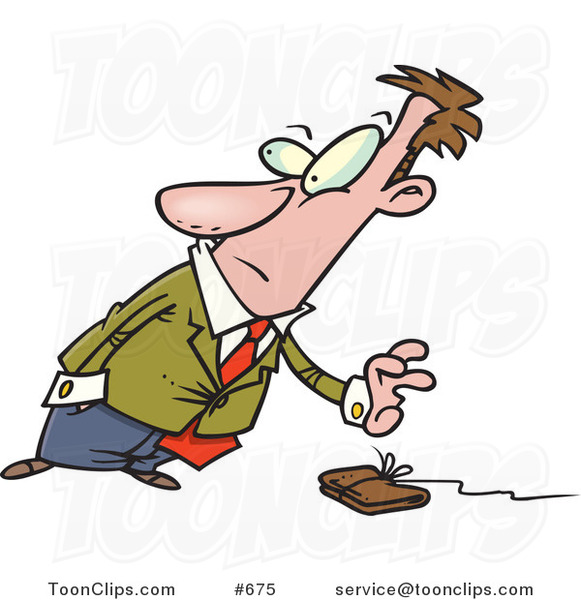 Cartoon Business Man Reaching for a Wallet on a String