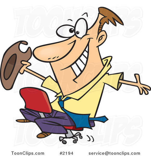 Cartoon Business Man Riding a Chair like a Rodeo Cowboy