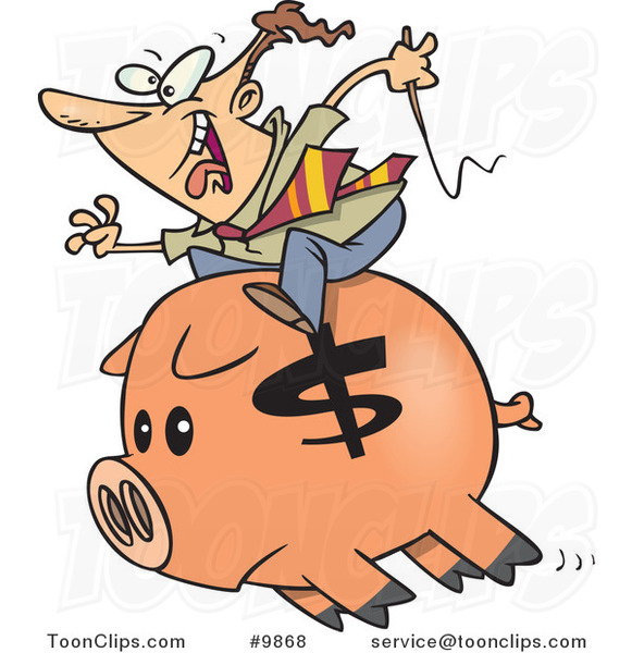Cartoon Business Man Riding a Piggy Bank