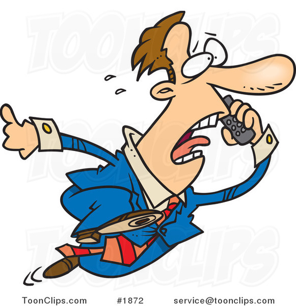 Cartoon Business Man Running and Talking on a Cell Phone #1872 by ...