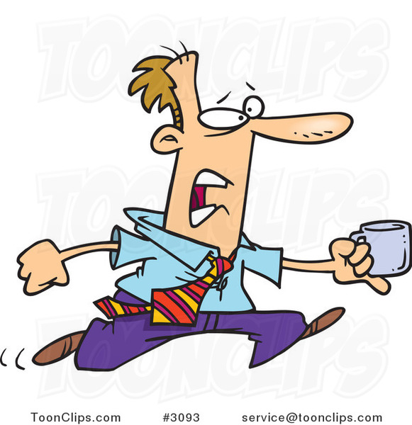 Cartoon Business Man Running with a Cup of Coffee