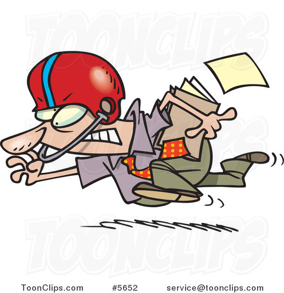 Cartoon Business Man Running with a File and Wearing a Helmet