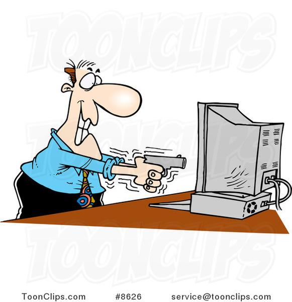 Cartoon Business Man Shooting A Computer #8626 By Ron Leishman
