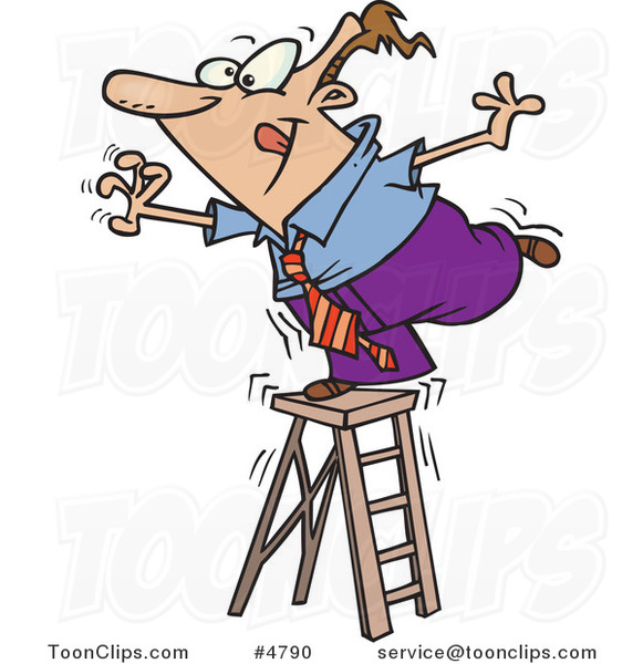 Cartoon Business Man Standing On A Ladder And Reaching
