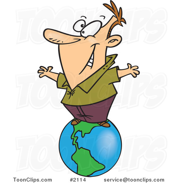 Cartoon Business Man Standing On Top Of The World 2114 By Ron Leishman