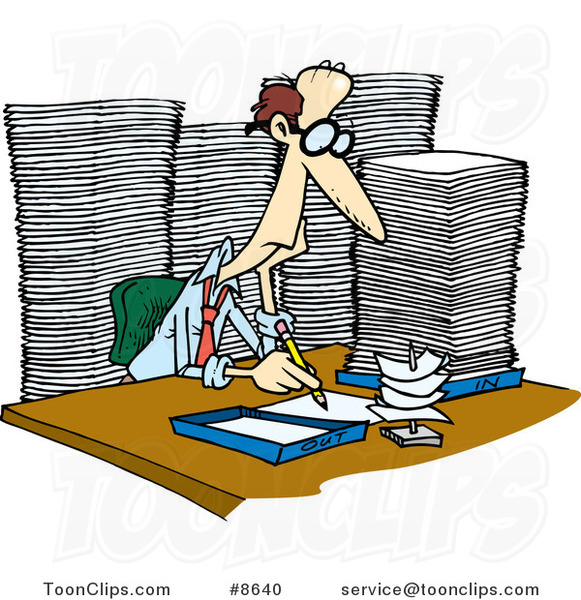 Cartoon Business Man Surrounded by Paperwork