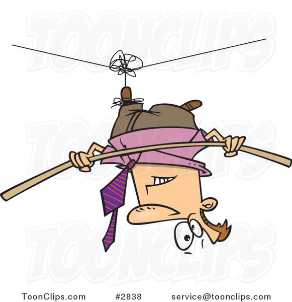 Cartoon Business Man Suspended Upside down from a Tight Rope