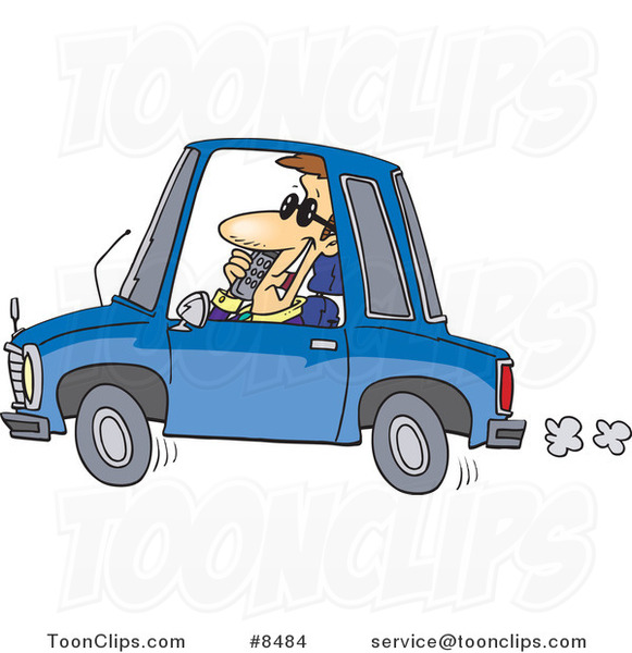 Cartoon Business Man Talking on a Phone and Driving