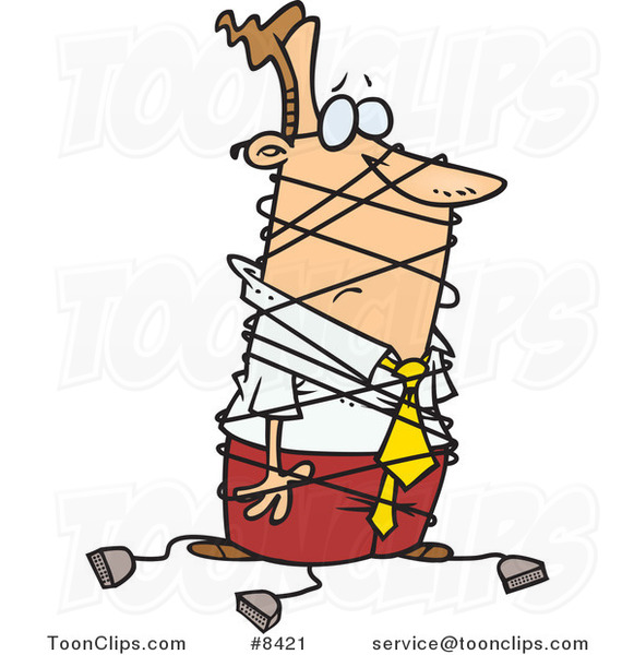 Cartoon Business Man Tangled In Cables 8421 By Ron Leishman