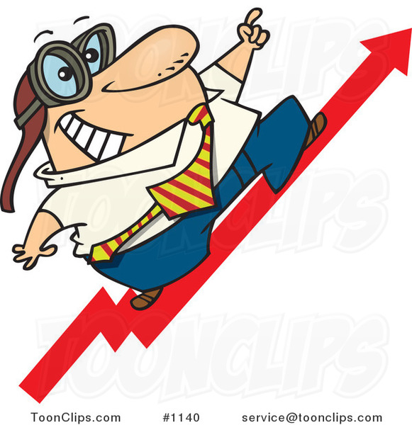 Cartoon Business Man Wearing Goggles and Standing on an Upward Arrow