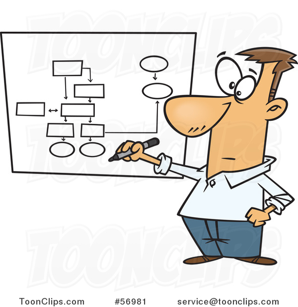 Cartoon Business White Guy Drawing a Chart for Project Management