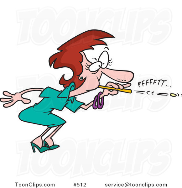 Cartoon Business Woman Blowing A Wad Through A Straw 512 By Ron Leishman