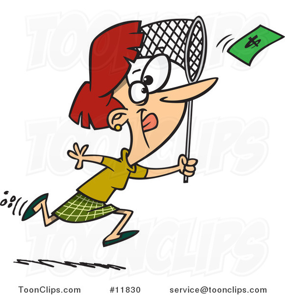 Cartoon Business Woman Chasing Money with a Net