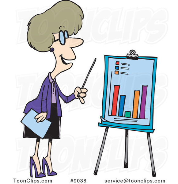 Cartoon Business Woman Presenting a Bar Graph