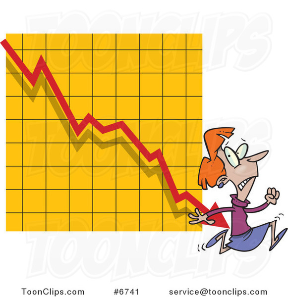 Cartoon Business Woman Running from a Chart Arrow